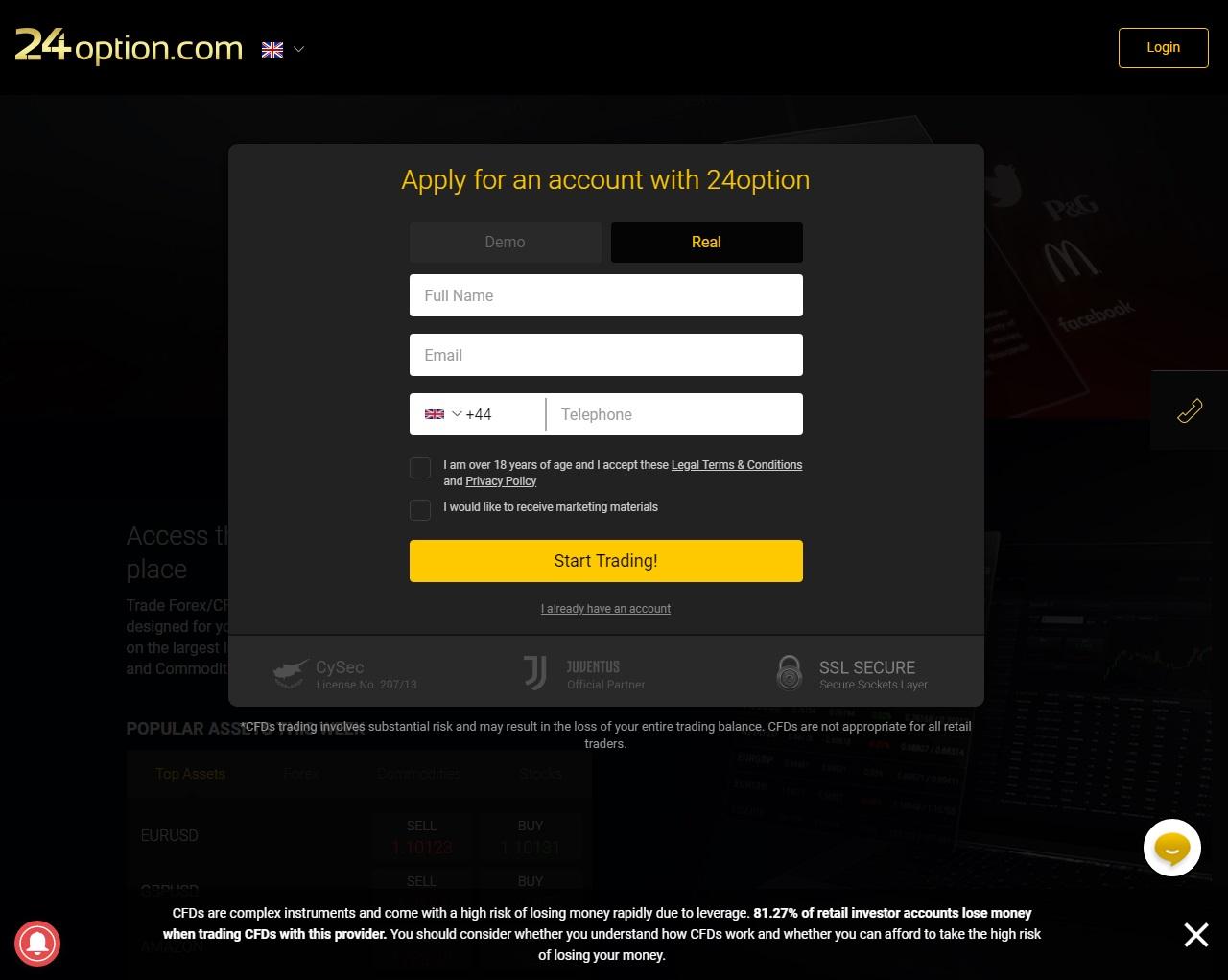 24option registration page