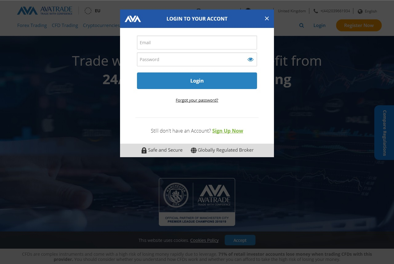 AvaTrade login page