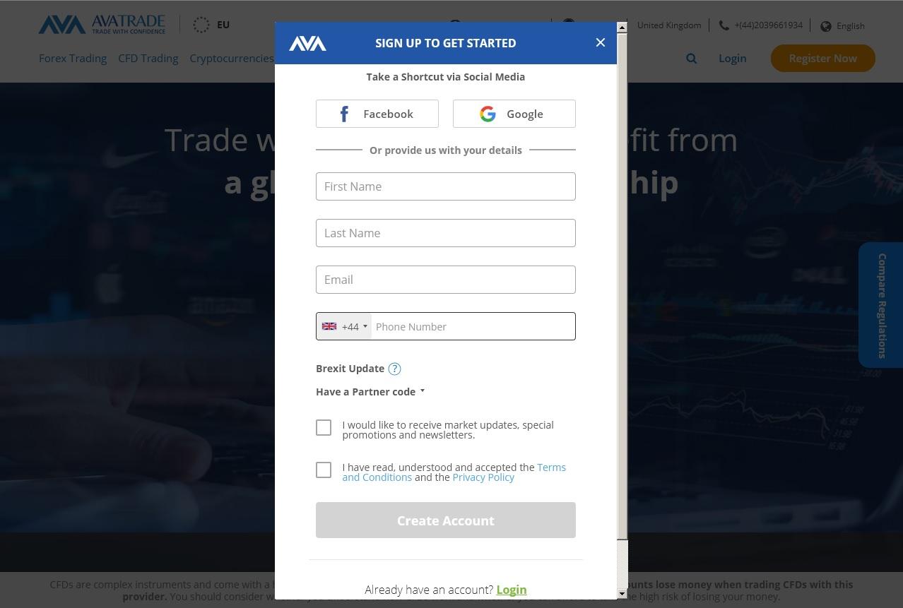 AvaTrade registration page