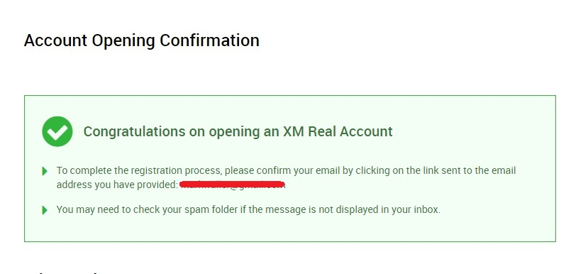 XM account confirmation
