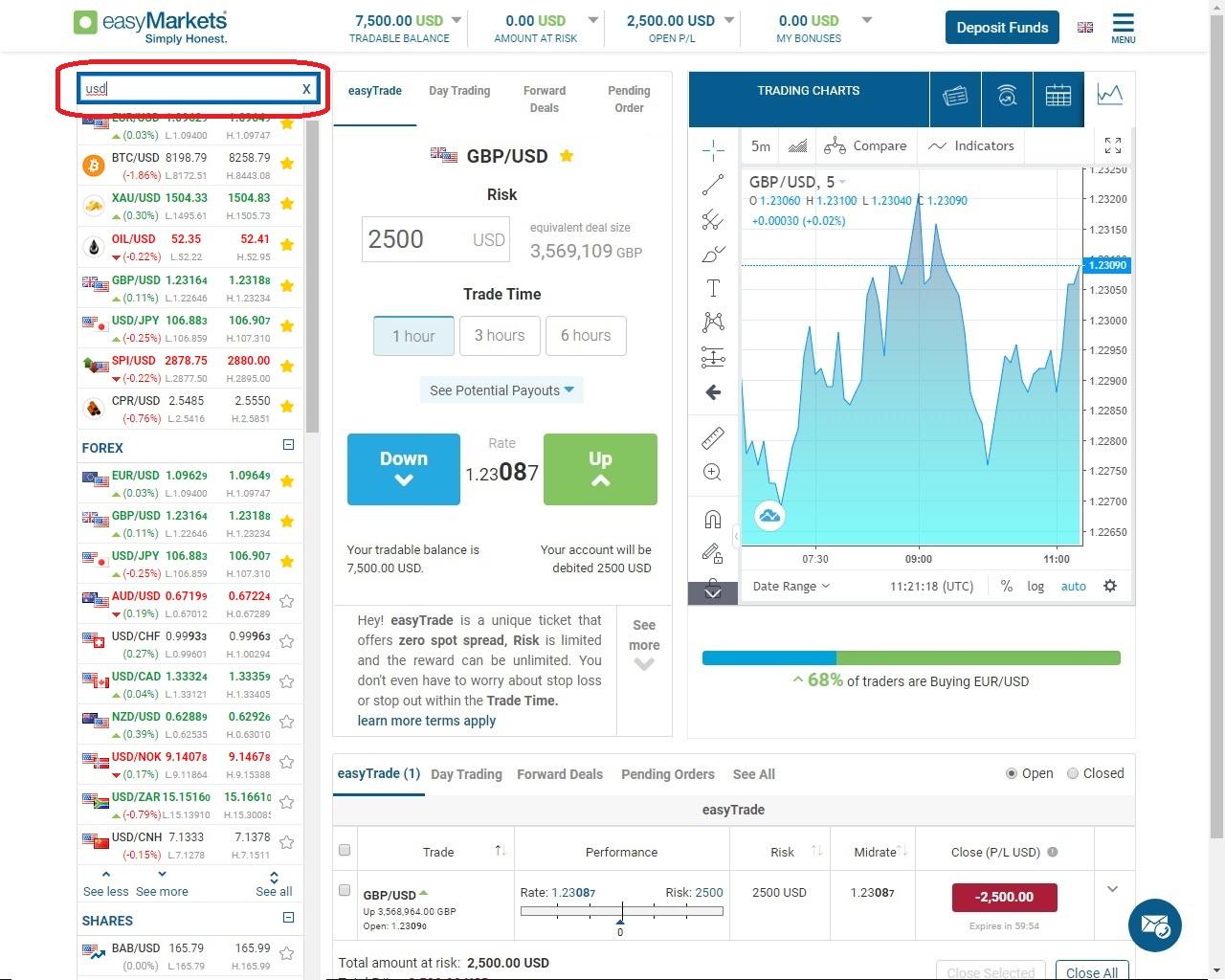 easyMarkets instrument search bar